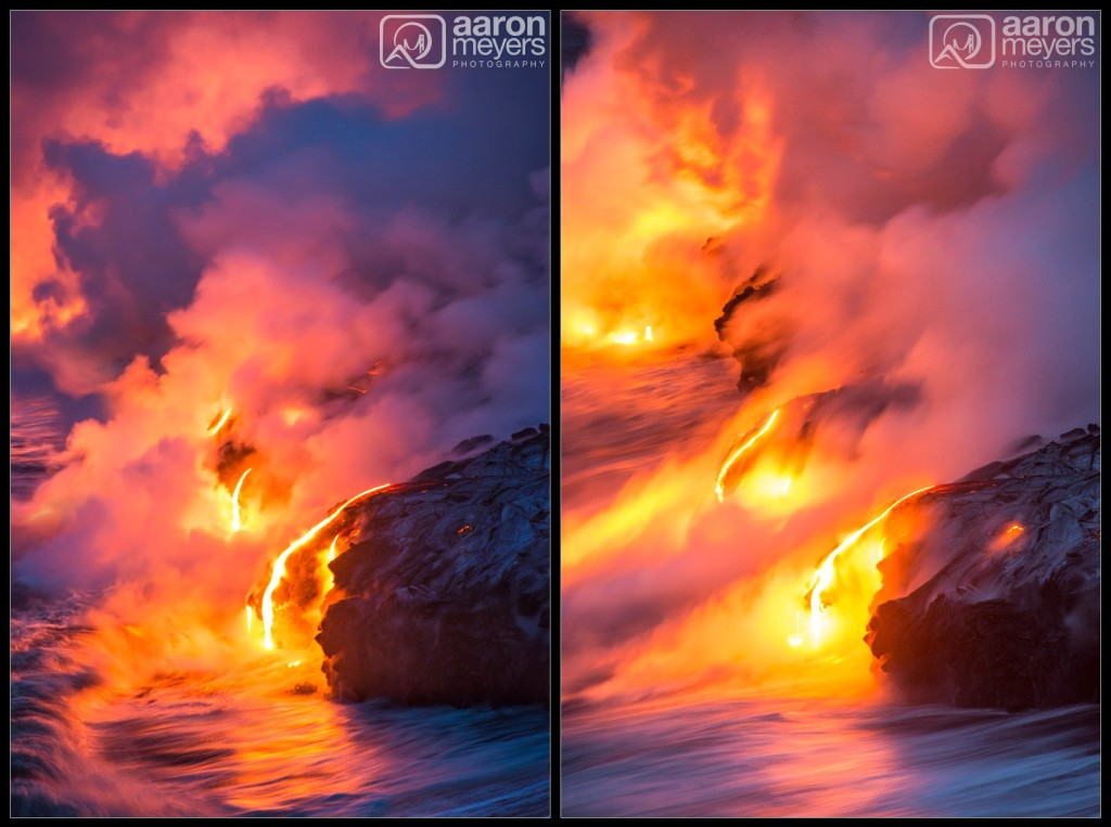 Ocean entry of the lava.
