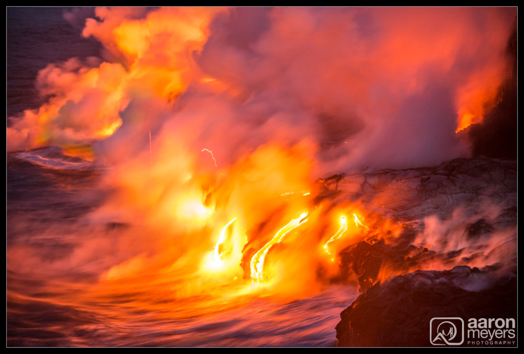 Streaking Lava into the ocean