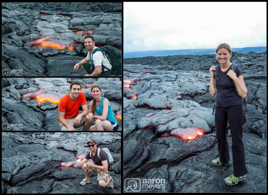 Us in front of lava
